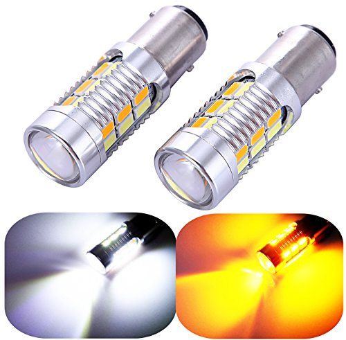 Honda Civic Turn Signal - 1157 2057 2357 7528 Turn Signal White/Yellow Switchback LED Light Bulbs 22 SMD with Projector, for Standard Socket, Not CK- Pair of 2