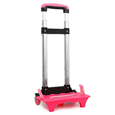 Backpack Trolley - Wheeled Trolley Hand Aluminium Alloy Folding Trolley Cart for Backpack (Pink,