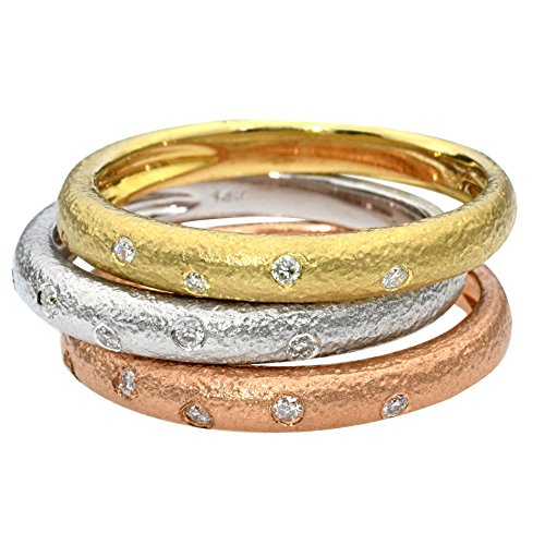 - 14k tri color gold hammered band with diamonds