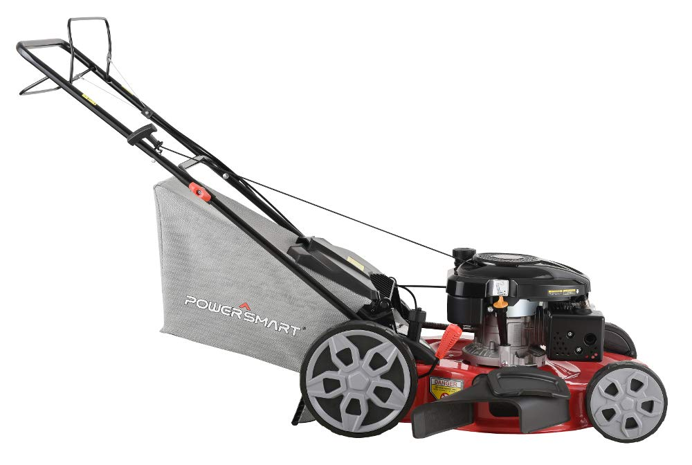 """Powersmart db2322s 22"""" 3-in-1 196cc gas self propelled lawn mower 3 powered by 196 cc engine delivering the right amount of power in a compact, lightweight package easy pull starting 3-in-1 bag, side discharge and mulching capability allows you to spread grass clippings to the side, returning key nutrients to your lawn so your grass can grow healthy and thick"""