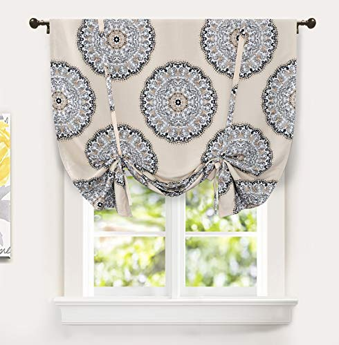 DriftAway Emma Tie Up Curtain Medallion Pattern Lined Thermal Insulated Energy Saving Blackout Room Darkening Adjustable Balloon Curtain Shade for Small Window Single 45 Inch by 63 Inch Beige Gray (Tie Up Curtains Blackout)