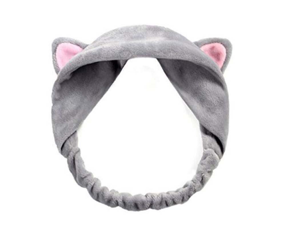 1 Gris femmes mignon oreilles de chat Bandeau Serre-tête pour laver votre visage et maquillage