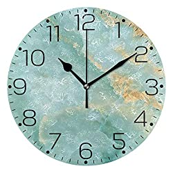 ZZAEO Natural Blue Onyx Marble Golden Printed Round Acrylic Wall Clock Art Frameless Quiet Desk Clock for Kitchen Bedroom Living Room Classroom Home Decor
