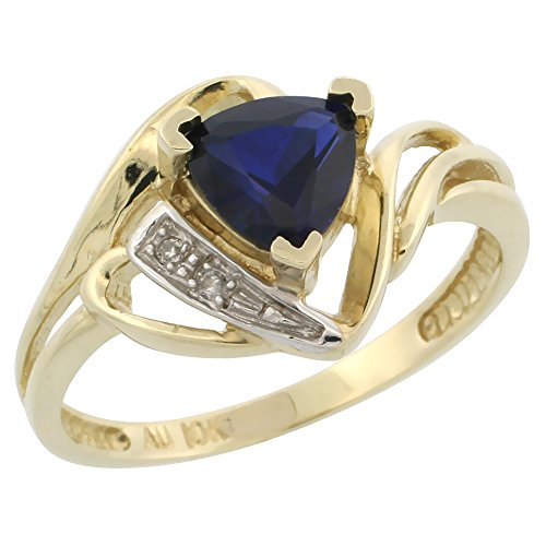 10k Gold Diamond Created Blue Sapphire Ring Trillium Cut 6mm September Birthstone 1/2 inch wide, size 8