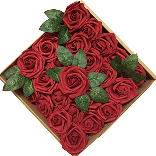 Jing-Rise 50PCS Fake Roses Real Looking Artificial Flowers For DIY Wedding Bouquets Centerpieces Baby Shower Party Home Office Shop Hotel Supermarket Decorations (Dark Red)