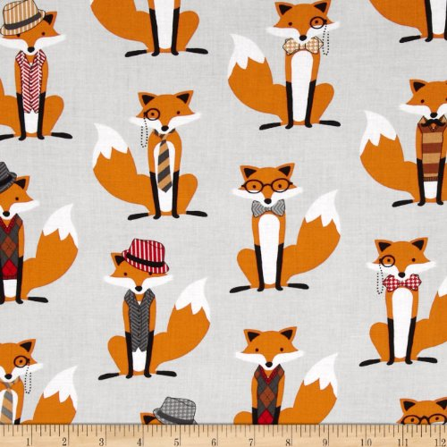 74 Houndstooth Foxes Grey Fabric by The Yard ()