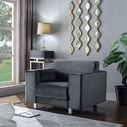 Amarillo Silver Accent - Iconic Home Amarillo Elegant Velvet Modern Contemporary Plush Cushion Seat Chrome Legs Club Chair, Grey