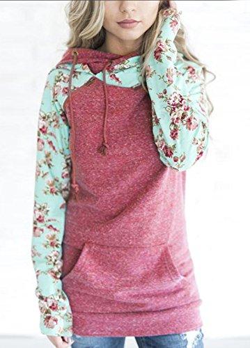 Femme Automne Hiver Longues Sweats Avec Poches Tops Sweats à capuche Décontractée Imprimé Manches Tailleurs Haut Pulls Sport Sweat-shirts