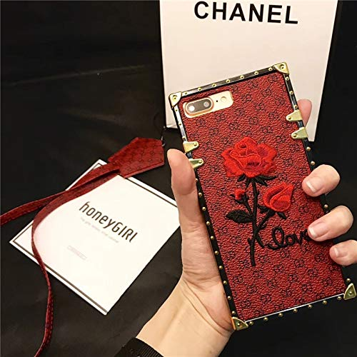 (Fitted Cases - Square Case for iPhone 6 6s 7 Plus Cover TPU Embroidery Rose Flower Luxury Phone Case for iPhone 7 8 Plus X 10 Coque - by Aquaman_CT - 1 PCs)