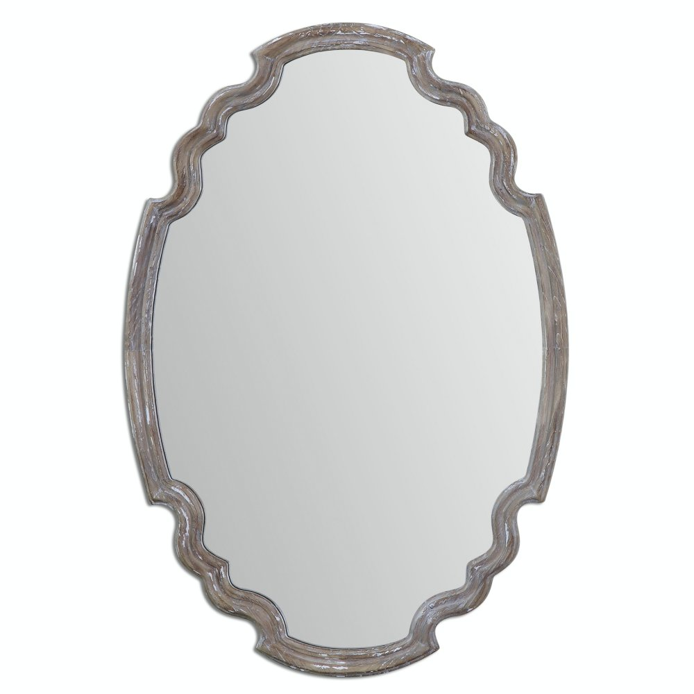 Aged and weathered gray washed wood wall mirror for farmhouse rustic charm in a bathroom.
