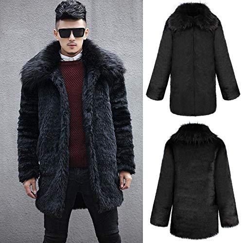 Parka Coat Fur Long koiu❀❀Coats Men Thick Fur for Collar Cardigan Winter Outwear Black Warm Jacket Faux Mens Give 6Rv8wtq6