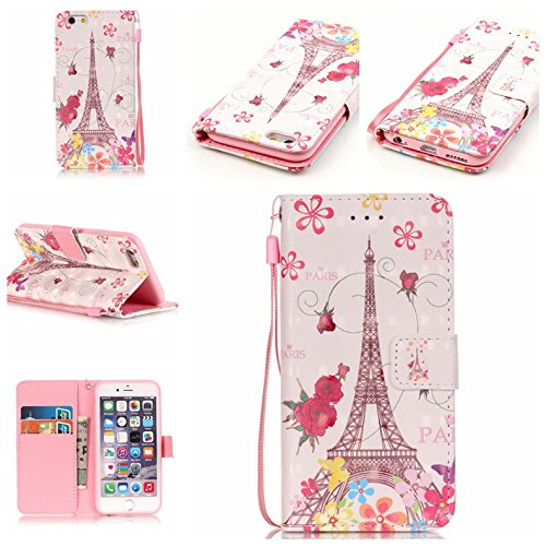 iPhone 6/6S Case,Firefish [Kickstand] [3D Printing] Folio Style Wallet Case of PU Leather with Magnetic Closure Wrist Strap for Apple iPhone 6/6S-Butterfly Tower