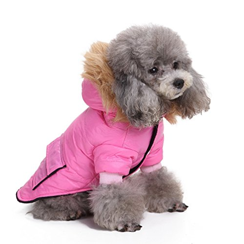 SELMAI Pet Snowsuit Windproof Puppy Parka Coat Dog Winter Jacket with Hood Dog Warm Outwear Dog Fleece for Small Dog Cat Pink M (Weekender Coat)