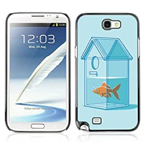 Designer Depo Hard Protection Case for Samsung Galaxy Note 2 N7100 / Goldfish House