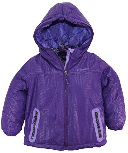 Rugged Bear Little Girls' Systems Winter Coat With Camo Cheetah Inner Jacket, Purple, (Cheetah Snowboard Jacket)