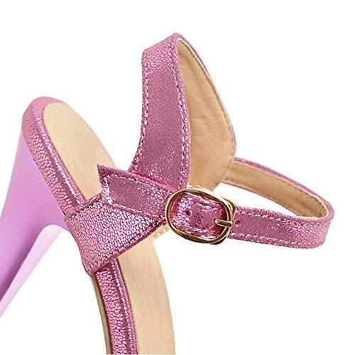 RAZAMAZA Mujer Moda Plataforma Tacon de Aguja Sandalias Verano Talon Abierto Boda Zapatos Purpura