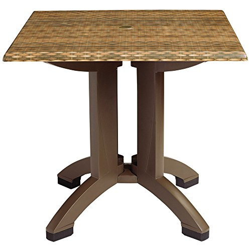 Grosfillex US240418 Sumatra 36'' Wicker Decor Square Pedestal Table with Umbrella (36' Square Pedestal Table)