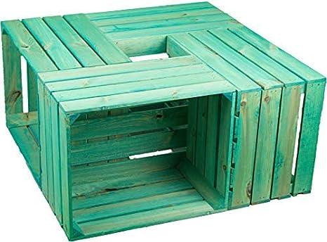 Kit de 4 Sólido Caja de Fruta Cajón de Manzana Caja de Vino de la región de altes Land 49 x 42 x 31cm - Turquesa: Amazon.es: Jardín