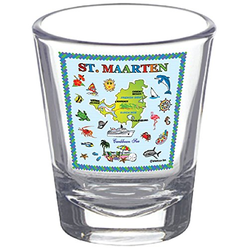 Shot Glass St. Maarten Map Souvenir Novelty Collectors Gift Shot Glass makes a great gift