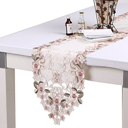 8' Doilies (homand'o Pink Rose Embroidery Table Runner Leaf Jacquard 11 by 67 Inches For Winter Decoration)