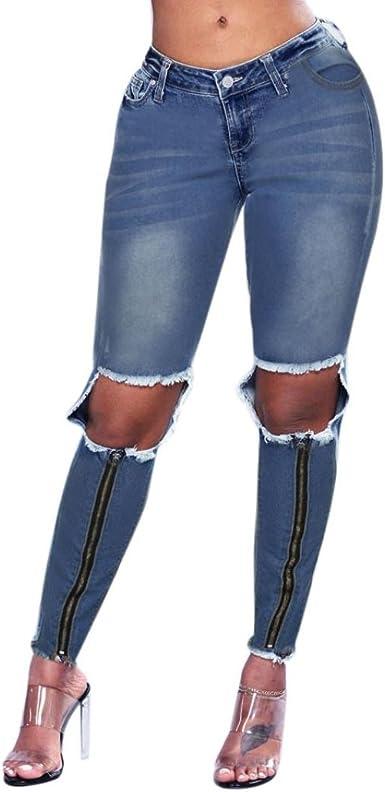 Ladies Womens Slim Fit Destroyed Frayed Hem Distressed Denim Rip Jeans Trousers