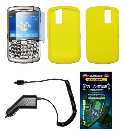 Blackberry 8310 Car Charger - Solid Yellow Silicone Gel Skin Cover Case + Screen Protector + Rapid Car Charger + Generation X Antenna Booster for Blackberry Cuve 8300 / 8310 / 8320 / 8330