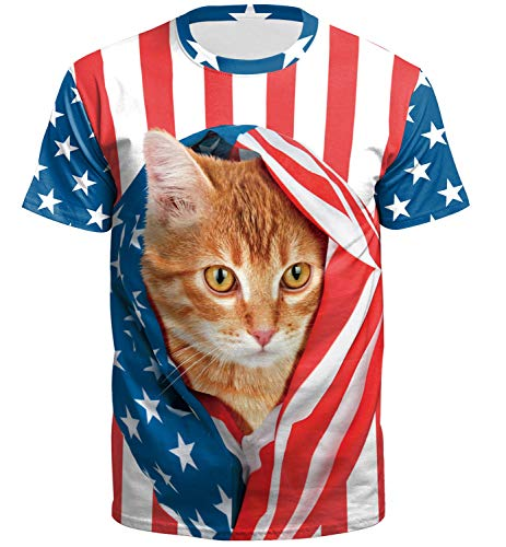 (American Flag Men Pattern July 4th Casual Tops Summer Short Sleeve Patriotic Printed Funny T Shirt Stripe XXL)
