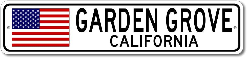 Garden Grove, California USA Flag Sign, Made in USA - Metal Novelty Sign for Home Decoration, Man Cave or Manspace Wall Decor, Gift Street Sign - 4x18 inches