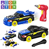 AOKESI Racing Car Toys Building Kit Take Apart Car,Put Together Car Toy with Drill Tool for 3.4.5 Years Old Boys Girls, Lights and Sounds STEM Gifts for Kids (26 Pieces)