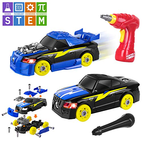 AOKESI Racing Car Toys Building Kit Take Apart Car,Put Together Car Toy with Drill Tool for 3.4.5 Years Old Boys Girls, Lights and Sounds STEM Gifts for Kids (26 Pieces) from AOKESI