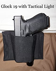 BH3 DTOM Bedside, Bed Side Holster for Gun with attached Tactical Light or Laser-Ambidextrous