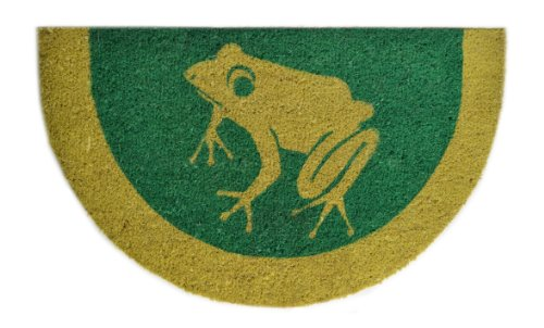 Imports Decor Half Round Vinyl Back Coir Doormat, Contemporary Frog, 18-Inch by (Teal Circle)