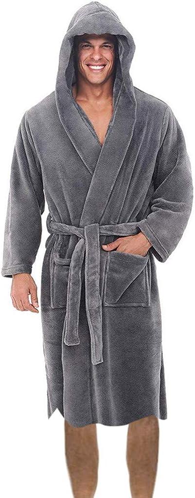 Men Bathrobe Fleece Robe with Hood Winter Warm Bathrobe Home Clothes Long Sleeve Robe Loungewear Sleepwear