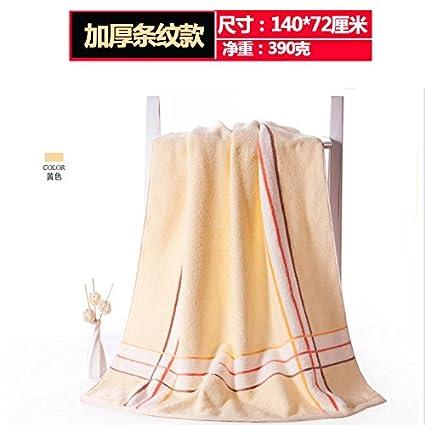 Dreamingces-Toallas De Baño Color Sólido Con Rayas Grid Amarilla Ultra Suave Y Absorbente Toalla