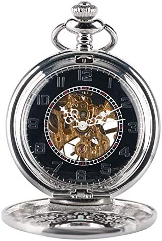 YXZQ懐中時計、ファッショングリルケースシルバー手巻き機械式絶妙なスケルトン彫刻女性男性ペンダントフォブチェーン