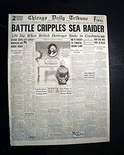 BATTLE OF THE RIVER PLATE German Admiral Graf Spee South America 1939 Newspaper CHICAGO DAILY TRIBUNE, Dec. 14, 1939