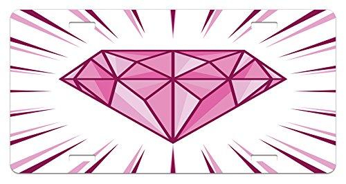 Diamonds License Plate by Lunarable, Pink Colored Crystal Shape Symbol of Marriage Proposal Surprise Present, High Gloss Aluminum Novelty Plate, 5.88 L X 11.88 W Inches, Pink Maroon (Pink Coloured Plate)