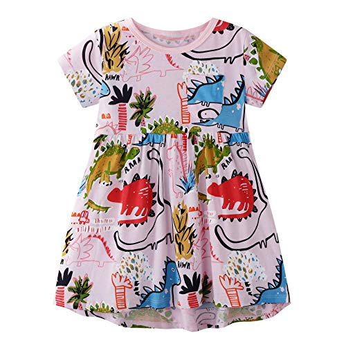 BIBNice Little Girls Casual Dress Toddler Summer Short Sleeve Dresses Printed Dinosuar 4-5Y