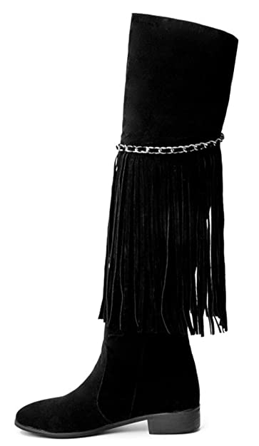 6fbf5bb61157 Aisun Women s Fashion Fringed Chains Round Toe Pull On Dressy Chunky Low  Heel Over The Knee