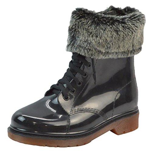 LvRao Mujeres Boots Impermeable de Lluvia Nieve Botas de Jardín Botines Corto con Cordones de Zapatos Negro Marrón con Pelaje