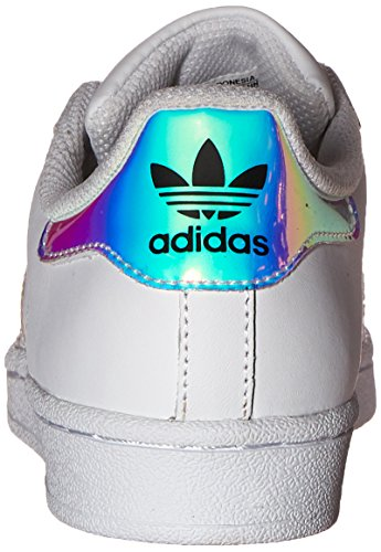adidas Originals Kid's Superstar J Shoe, White/White/Metallic Silver, 4 M US Big Kid by adidas Originals (Image #2)