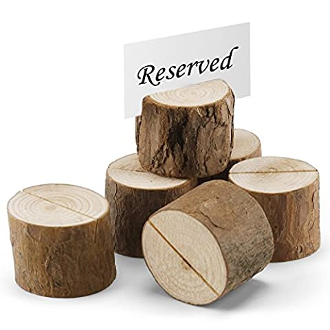 Set of 6 Natural Wood Miniature Log Place Card & Business Card Holders - Tree Place Card