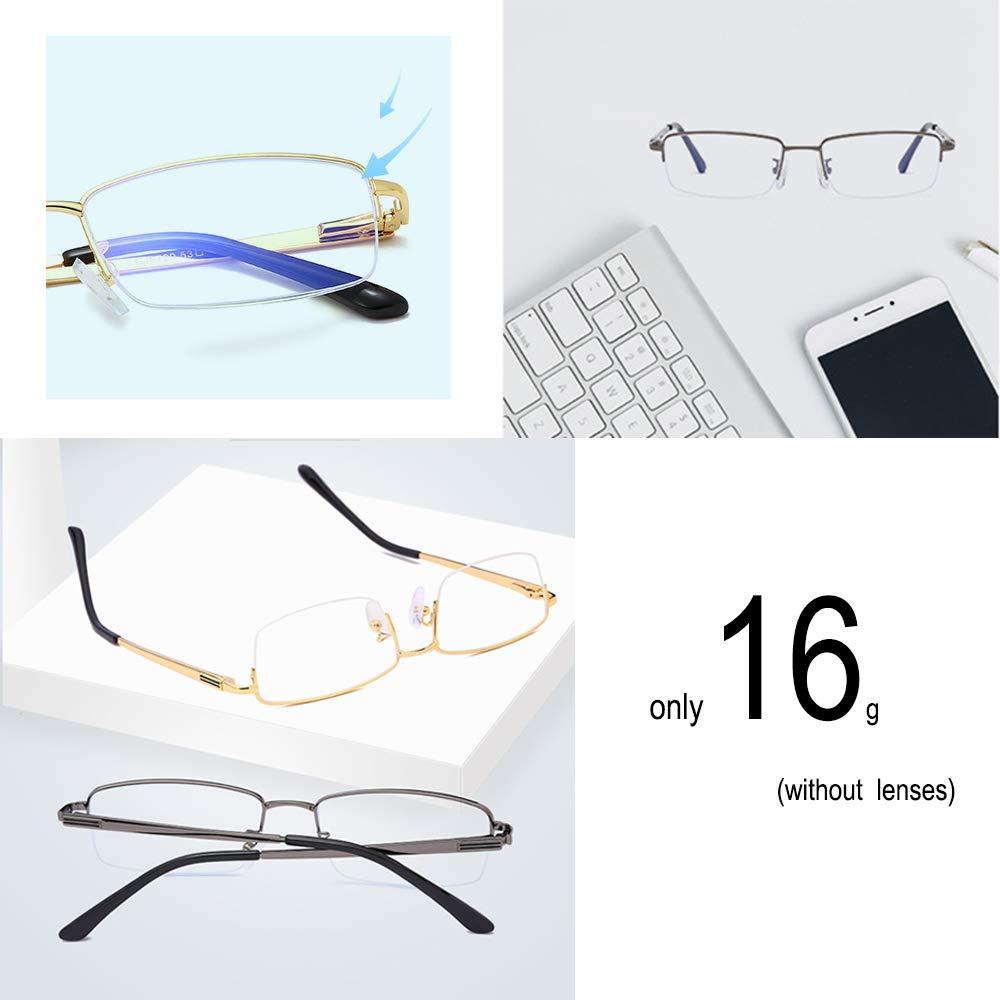 Vocono Half Rimless Metal Eyewear Frames Blue Light Blocking Transparent Lens Business Glasses