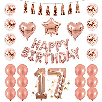 BALONA 40inch Rose Gold 17th Number Balloon 12inch Confetti With Happy Birthday Banner Star Heart Foil Tassel