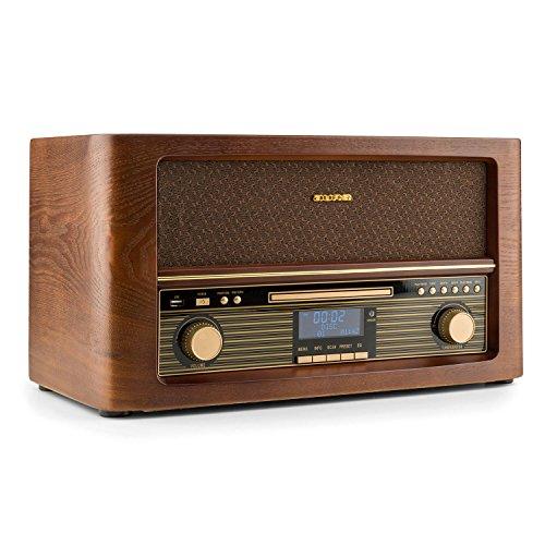 auna Belle Epoque 1906 DAB Stereoanlage Kompaktanlage Musikanlage Retro-Radio (Bluetooth, AUX, DAB+, UKW/MW-Empfänger, Direct-USB-MP3-Encoding-Funktion, Fernbedienung) braun