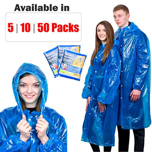 Extra Thick Disposable Emergency Rain Ponchos ~ Premium Quality, Lightweight, Waterproof & Tear Resistant ~ For Hiking, Tours, Sightseeing, Theme Parks, Festivals & More by KeepDry!