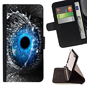 DEVIL CASE - FOR Samsung Galaxy S5 V SM-G900 - Blue Eye Water Drop Macro Nature Grey - Style PU Leather Case Wallet Flip Stand Flap Closure Cover