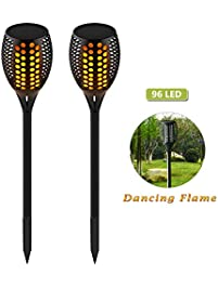 wahom solar path torches light outdoor waterproof dancing flame lighting 96 led flicking tiki torches lights
