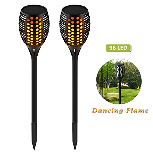 Wahom Solar Path Torches Light Outdoor Waterproof Dancing Flame Lighting (Ground Patio Torches)