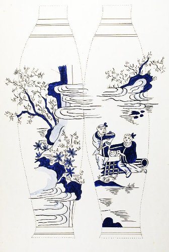 (An original design for two porcelain vases)